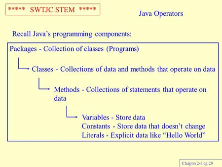 ***** SWTJC STEM ***** Chapter 2-3 cg 29 Java Operators Recall Java's programming components: Packages - Collection of classes (Programs) Classes - Collections.