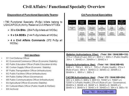 Disposition of Functional Specialty Teams: CA Functional Specialties
