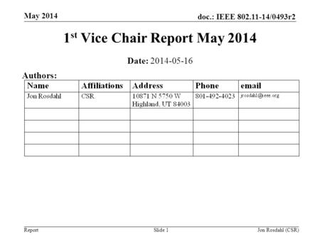 Doc.: IEEE 802.11-14/0493r2 Report May 2014 Jon Rosdahl (CSR)Slide 1 1 st Vice Chair Report May 2014 Date: 2014-05-16 Authors: