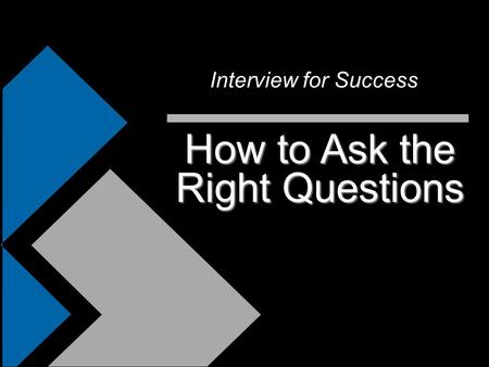 How to Ask the Right Questions Interview for Success.