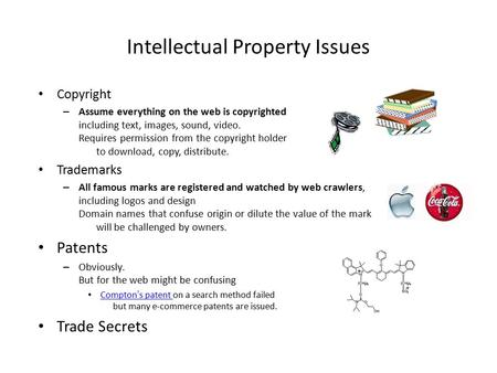 Intellectual Property Issues Copyright – Assume everything on the web is copyrighted including text, images, sound, video. Requires permission from the.
