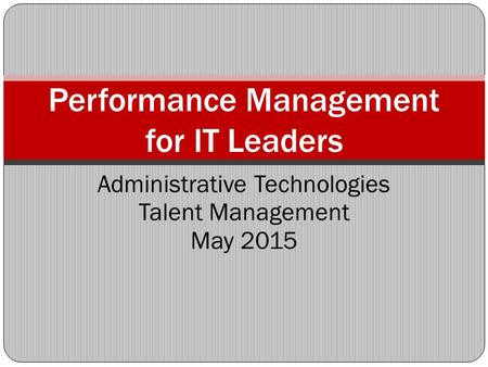 Performance Management for IT Leaders