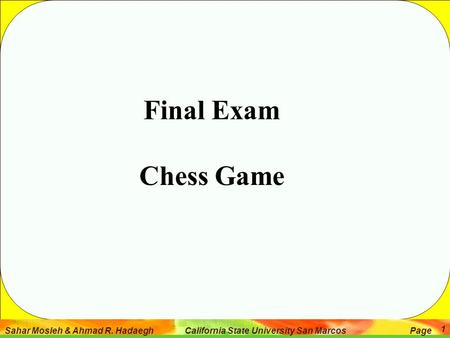 Final Exam Chess Game.