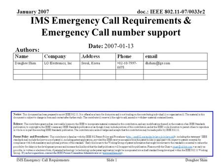 Doc.: IEEE 802.11-07/0033r2 IMS Emergency Call Requirements January 2007 Donghee ShimSlide 1 IMS Emergency Call Requirements & Emergency Call number support.
