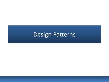 Design Patterns 1. Design patterns are solutions to problems that arise when developing software within a particular context Patterns capture the structure.