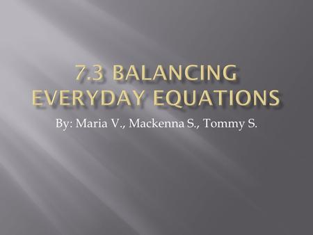 By: Maria V., Mackenna S., Tommy S.. You balance equations everyday, but you may not realize. For example, you can write a word equation for bicycles.