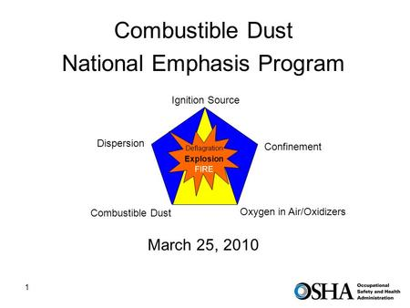 1 Combustible Dust National Emphasis Program Ignition Source March 25, 2010 Ignition Source Confinement Oxygen in Air/Oxidizers Dispersion Combustible.