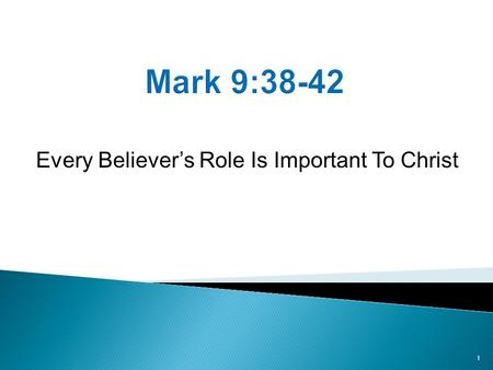 Every Believer's Role Is Important To Christ 1. Summary of Status  9:33-37 Status among the 12.  9:38-42 Status of believers outside of the 12. Summary.
