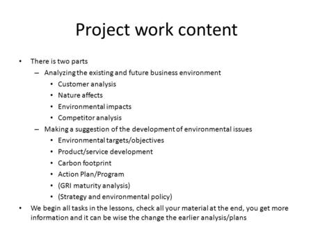 Project work content There is two parts – Analyzing the existing and future business environment Customer analysis Nature affects Environmental impacts.