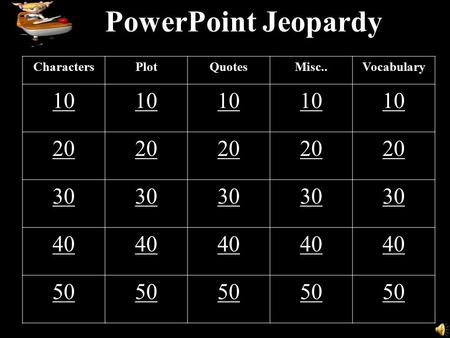 PowerPoint Jeopardy CharactersPlotQuotesMisc..Vocabulary 10 20 30 40 50.