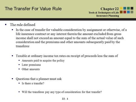 Cash and Cash Equivalents Chapter 1 Tools & Techniques of Investment Planning The Transfer For Value Rule Chapter 22 Tools & Techniques of Life Insurance.