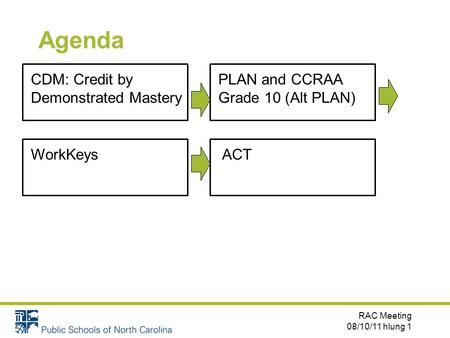 Agenda RAC Meeting 08/10/11 hlung 1 CDM: Credit by Demonstrated Mastery PLAN and CCRAA Grade 10 (Alt PLAN) ACTWorkKeys.