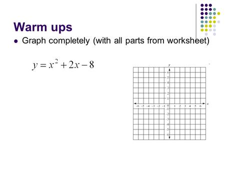 Warm ups Graph completely (with all parts from worksheet)