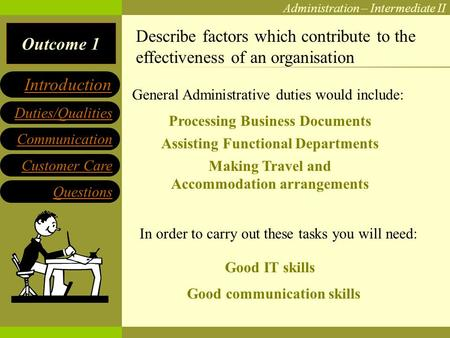 Outcome 1 Administration – Intermediate II Communication Customer Care Questions Duties/Qualities Introduction Describe factors which contribute to the.