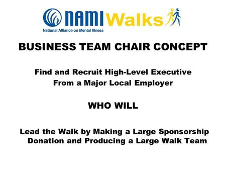 BUSINESS TEAM CHAIR CONCEPT Find and Recruit High-Level Executive From a Major Local Employer WHO WILL Lead the Walk by Making a Large Sponsorship Donation.
