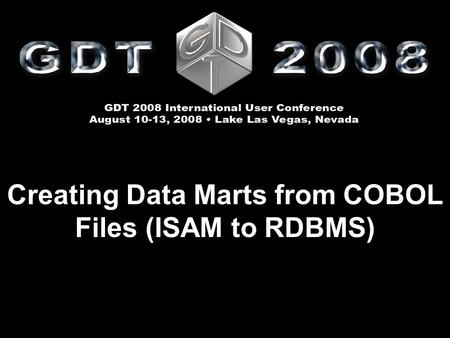 Creating Data Marts from COBOL Files (ISAM to RDBMS)