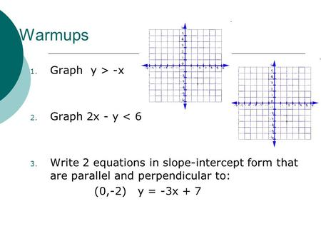 Warmups 1. Graph y > -x 2. Graph 2x - y < 6 3. Write 2 equations in slope-intercept form that are parallel and perpendicular to: (0,-2) y = -3x + 7.