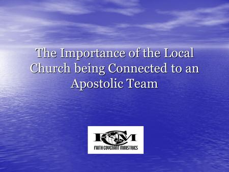 "The Importance of the Local Church being Connected to an Apostolic Team Hello everyone! My name is Bobby Leek and welcome to this session ""The Importance."