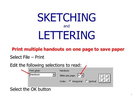 1 SKETCHING and LETTERING Print multiple handouts on one page to save paper Select File – Print Edit the following selections to read: Select the OK button.