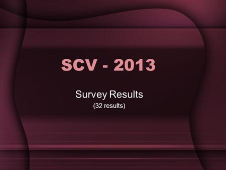SCV - 2013 Survey Results (32 results). Age Range.