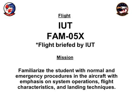 Flight Mission IUT FAM-05X *Flight briefed by IUT Familiarize the student with normal and emergency procedures in the aircraft with emphasis on system.