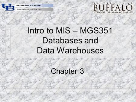 Intro to MIS – MGS351 Databases and Data Warehouses Chapter 3.