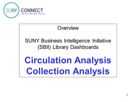1 Overview SUNY Business Intelligence Initiative (SBII) Library Dashboards Circulation Analysis Collection Analysis.