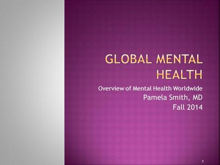Overview of Mental Health Worldwide Pamela Smith, MD Fall 2014 1.
