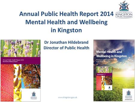 Annual Public Health Report 2014 Mental Health and Wellbeing in Kingston Dr Jonathan Hildebrand Director of Public Health www.kingston.gov.uk.