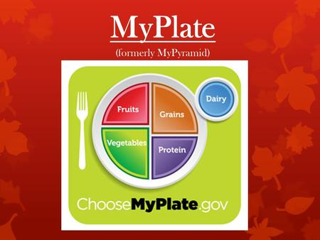 MyPlate (formerly MyPyramid). 1992 2005 2011 Why it matters  Better health - reduce rates of morbidity and mortality related to obesity, diabetes,