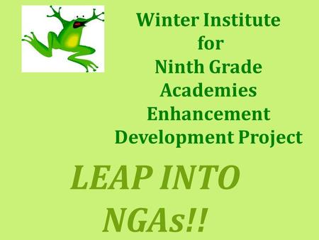 Winter Institute for Ninth Grade Academies Enhancement Development Project LEAP INTO NGAs!!