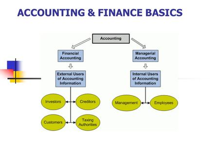 ACCOUNTING & FINANCE BASICS. WHO USES ACCOUNTING? External users are parties outside the reporting entity (company) who are interested in the accounting.