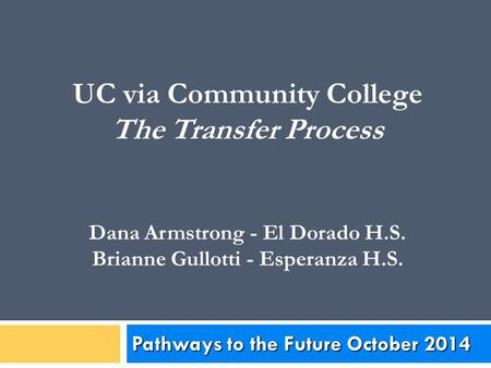 UC via Community College The Transfer Process Dana Armstrong - El Dorado H.S. Brianne Gullotti - Esperanza H.S. Pathways to the Future October 2014.