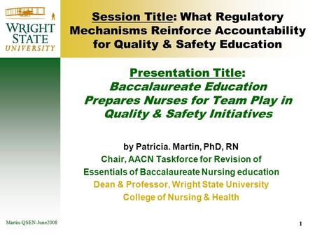1 Martin-QSEN-June2008 1 Session Title: What Regulatory Mechanisms Reinforce Accountability for Quality & Safety Education by Patricia. Martin, PhD, RN.