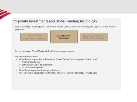 Corporate Investments and Global Funding Technology Line of Business Technology for Front Office, Middle Office, Finance in a full range of Capital Markets.