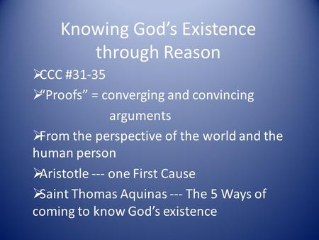 Faith reason and the existence of