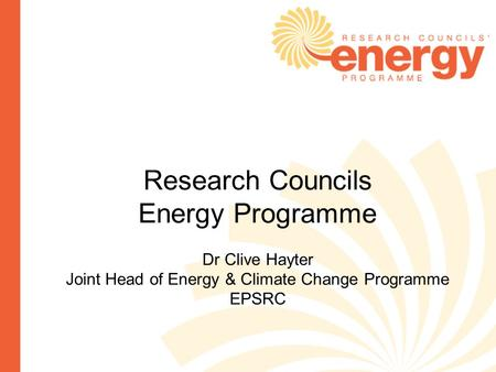 Joint Head of Energy & Climate Change Programme