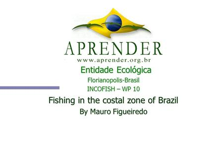 Entidade Ecológica Florianopolis-Brasil INCOFISH – WP 10 Fishing in the costal zone of Brazil By Mauro Figueiredo.