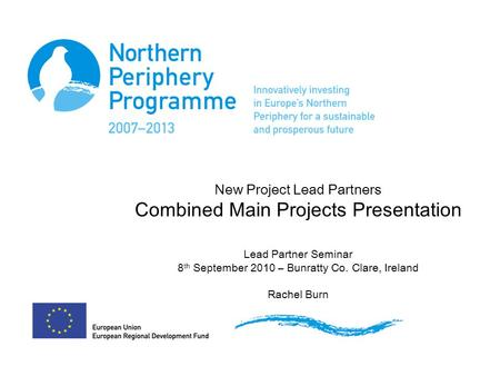 New Project Lead Partners Combined Main Projects Presentation Lead Partner Seminar 8 th September 2010 – Bunratty Co. Clare, Ireland Rachel Burn.