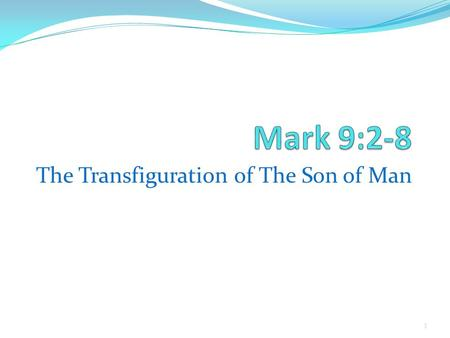 1 The Transfiguration of The Son of Man. 2 Son of Man must suffer – vs. 31 Man's interests versus God's vss.32-33 Living for God's interests not man's.