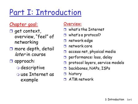 "1: Introduction1a-1 Part I: Introduction Chapter goal: r get context, overview, ""feel"" of networking r more depth, detail later in course r approach: m."
