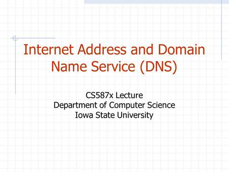 Internet Address and Domain Name Service (DNS) CS587x Lecture Department of Computer Science Iowa State University.