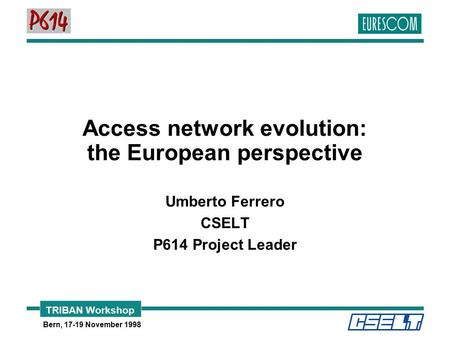 TRIBAN Workshop Bern, 17-19 November 1998 Access network evolution: the European perspective Umberto Ferrero CSELT P614 Project Leader.