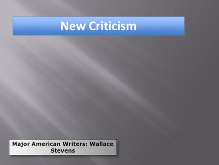 Major American Writers: Wallace Stevens