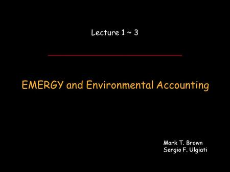ENEA Workshop Day 1 ~ Lecture 3… EMERGY and Environmental Accounting Lecture 1 ~ 3 Mark T. Brown Sergio F. Ulgiati.