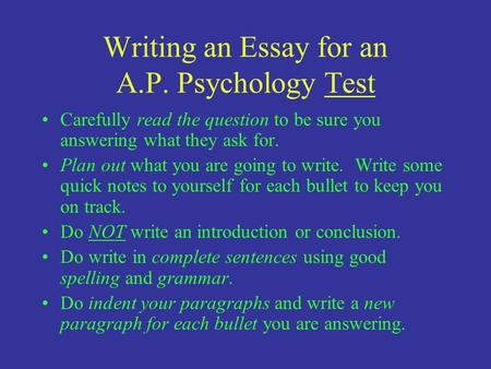 response section test structure response essay writing an essay for an a p psychology test