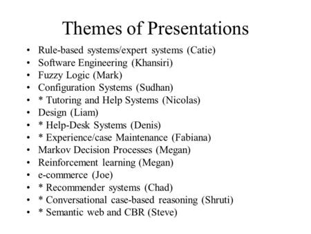 Themes of Presentations Rule-based systems/expert systems (Catie) Software Engineering (Khansiri) Fuzzy Logic (Mark) Configuration Systems (Sudhan) *