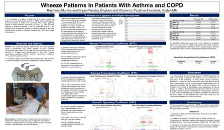 Wheeze Patterns In Patients With Asthma and COPD Raymond Murphy and Bryan Flietstra, Brigham and Women's / Faulkner Hospitals, Boston MA A wheeze as it.