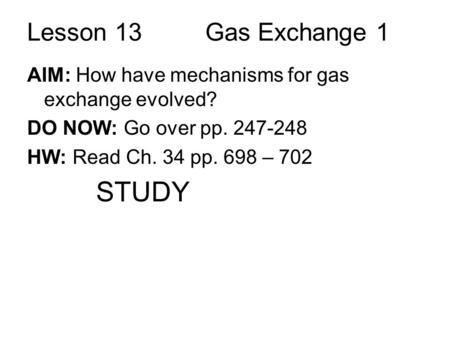 STUDY Lesson 13 Gas Exchange 1