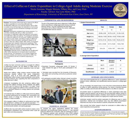 Effect of Coffee on Caloric Expenditure in College-Aged Adults during Moderate Exercise Nicole Gutzman, Maggie Meitzen, Tiffany Moy, and Casey Wick Faculty.